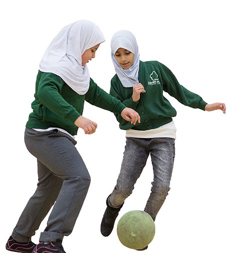 Girls playing football - Sport Wales